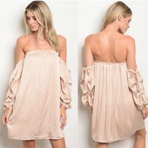 Dresses & Skirts - Off The Shoulder Long Sleeve Satin Shift Dress